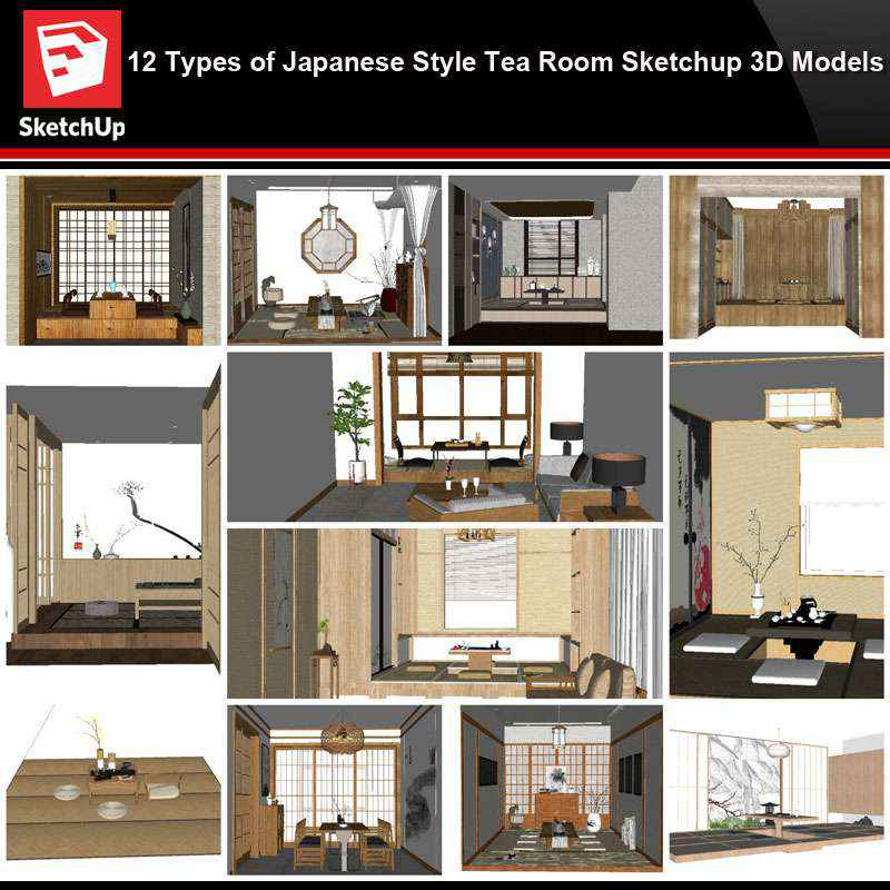 Sketchup Architecture 3d Projects 12 Types Of Japanese Style Tea Room Sketchup 3d Models Download Autocad Blocks Drawings Details 3d Psd